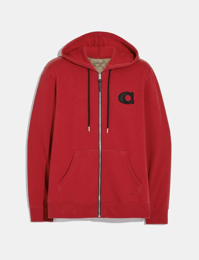 Coach Varsity C Zip Up Hoodie Red