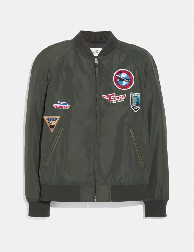 Coach Lightweight Varsity Jacket With Patches Olive