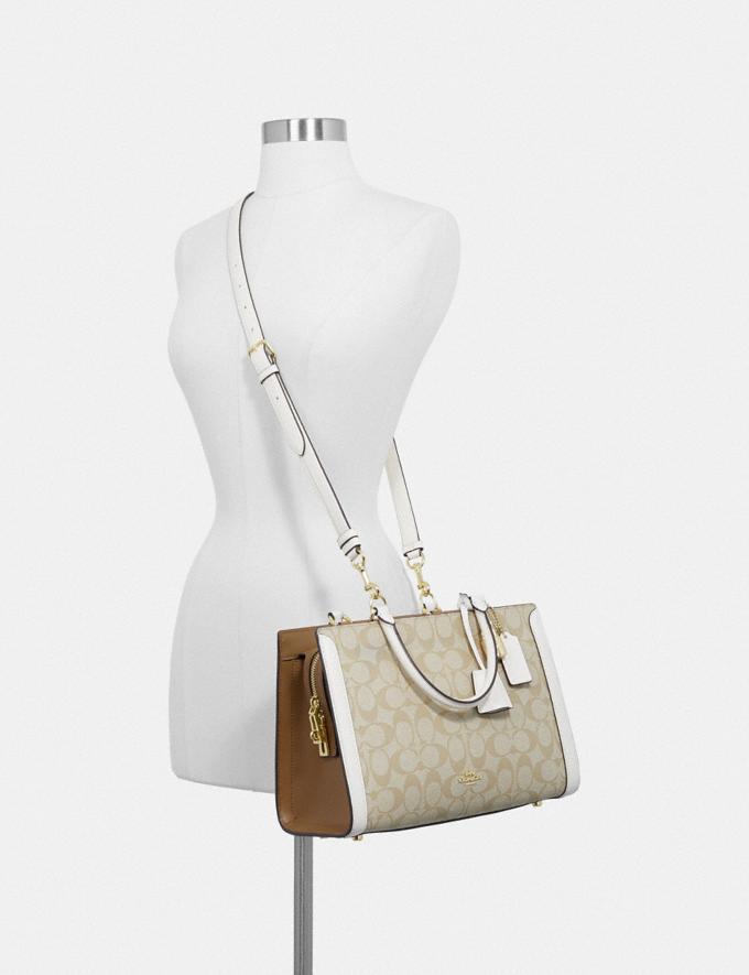 Coach Zoe Carryall in Signature Canvas Light Khaki/Chalk/Imitation Gold Explore Bags Bags Business Bags Alternate View 2