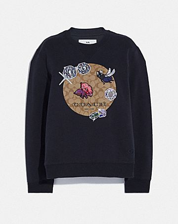 DISNEY X COACH SIGNATURE PRINT SWEATSHIRT WITH SNOW WHITE AND THE SEVEN DWARFS MOTIF