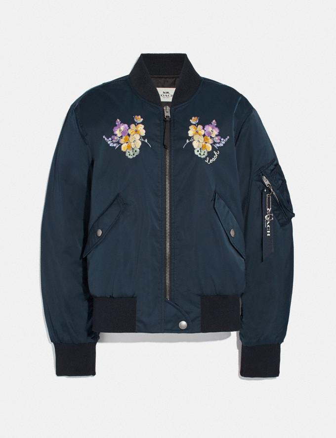 Coach Ma-1 Jacket With Floral Embroidery Navy