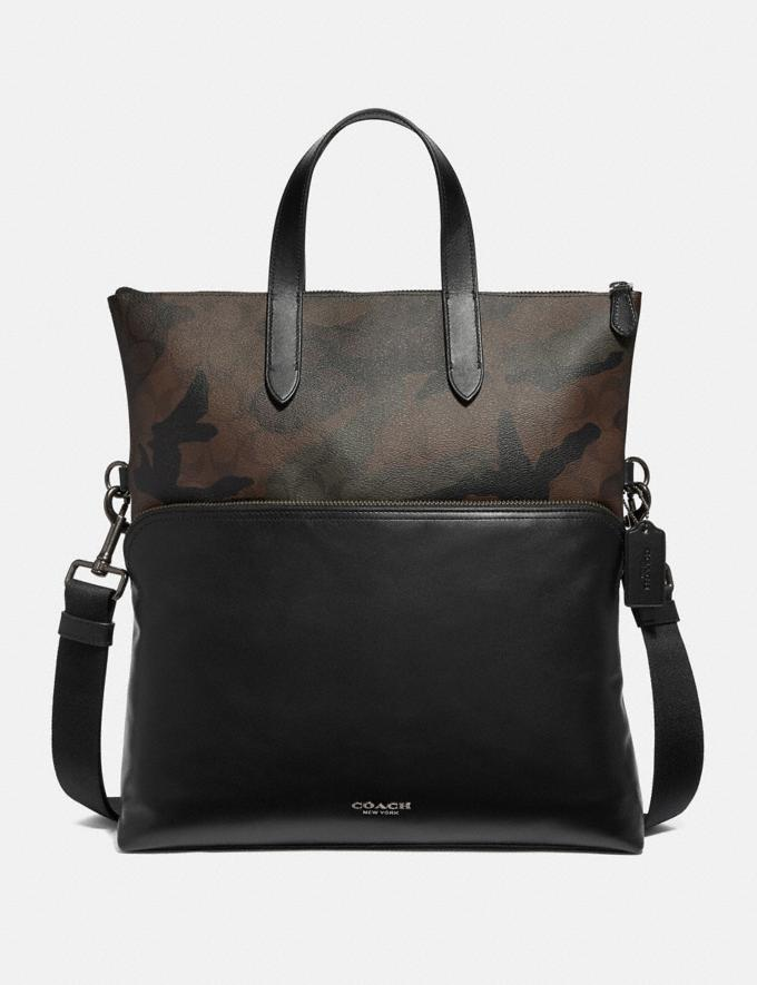 Coach Graham Foldover Tote in Signature Canvas With Camo Print Green Multi/Black Antique Nickel Men Bags