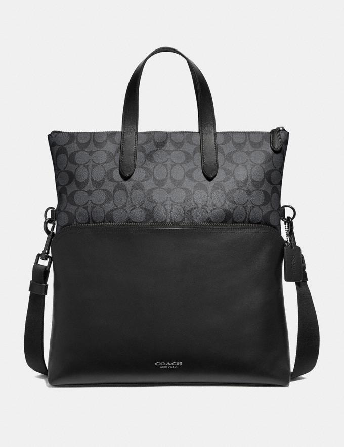 Coach Graham Foldover Tote in Signature Canvas Charcoal/Black/Black Antique Nickel Clearance Men