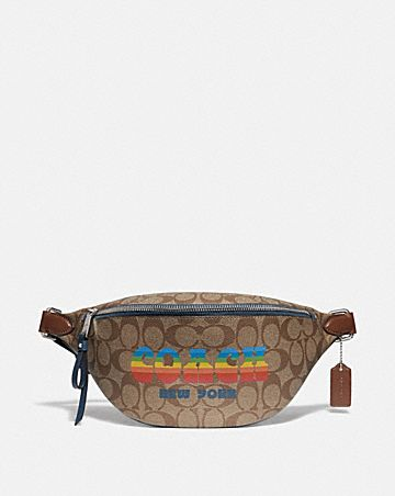 BELT BAG IN SIGNATURE CANVAS WITH RAINBOW COACH ANIMATION