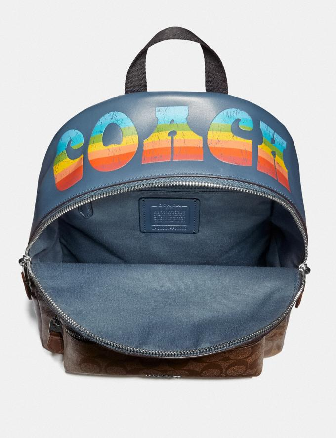 Coach Medium Charlie Backpack in Signature Canvas With Rainbow Coach Animation Khaki/Multi/Silver Explore Bags Bags Backpacks Alternate View 1