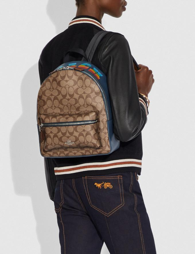 Coach Medium Charlie Backpack in Signature Canvas With Rainbow Coach Animation Khaki/Multi/Silver Explore Bags Bags Backpacks Alternate View 2