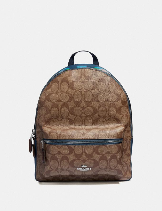 Coach Medium Charlie Backpack in Signature Canvas With Rainbow Coach Animation Khaki/Multi/Silver Explore Bags Bags Backpacks