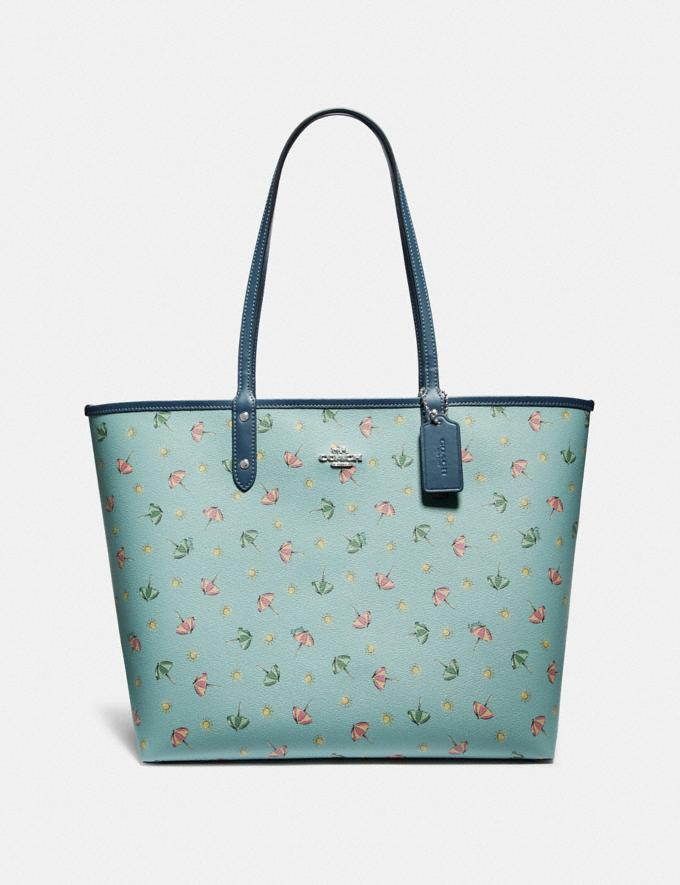 Coach Reversible City Tote With Beach Umbrella Print Seafoam/Midnight/Silver Explore Bags Bags Totes