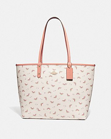 REVERSIBLE CITY TOTE WITH ALLOVER RAINBOW PRINT