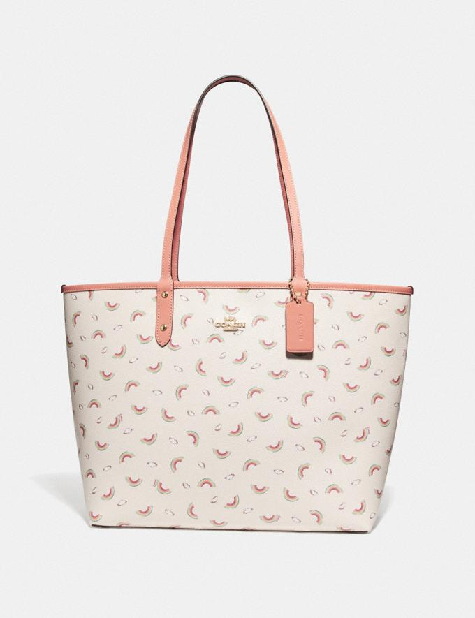 Coach Reversible City Tote With Allover Rainbow Print Chalk/Light Coral/Gold Explore Bags Bags Totes