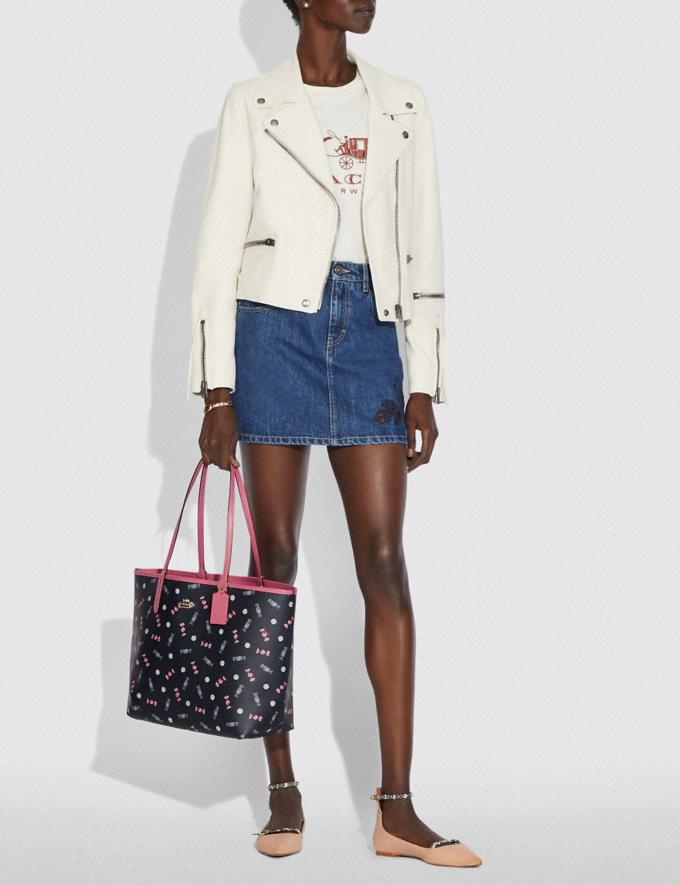 Coach Reversible City Tote With Scattered Candy Print Navy/Multi/Pink Ruby/Gold Explore Bags Bags Totes Alternate View 3