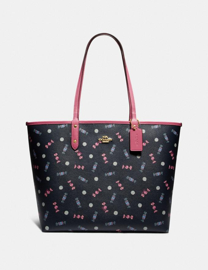 Coach Reversible City Tote With Scattered Candy Print Navy/Multi/Pink Ruby/Gold Explore Bags Bags Totes