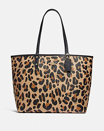 REVERSIBLE CITY TOTE WITH ANIMAL PRINT