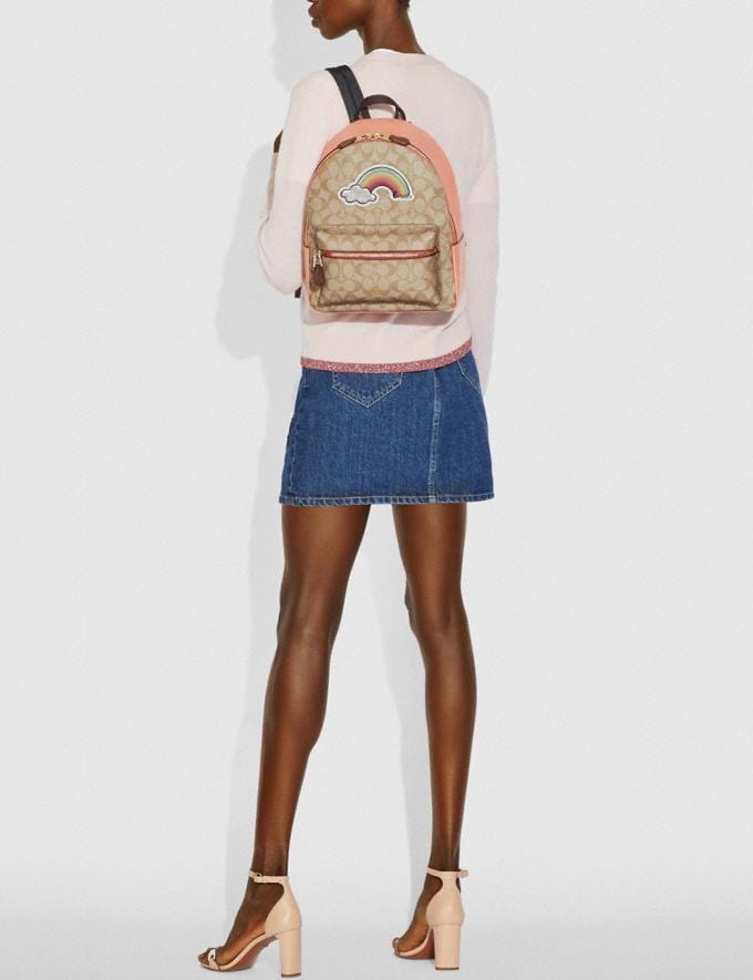 Coach Medium Charlie Backpack in Signature Canvas With Rainbow Motif Light Khaki/Multi/Gold Explore Bags Bags Backpacks Alternate View 2