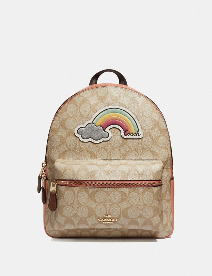 Coach Medium Charlie Backpack in Signature Canvas With Rainbow Motif Light Khaki/Multi/Gold Explore Bags Bags Backpacks
