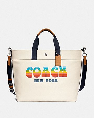extra large tote with rainbow coach animation