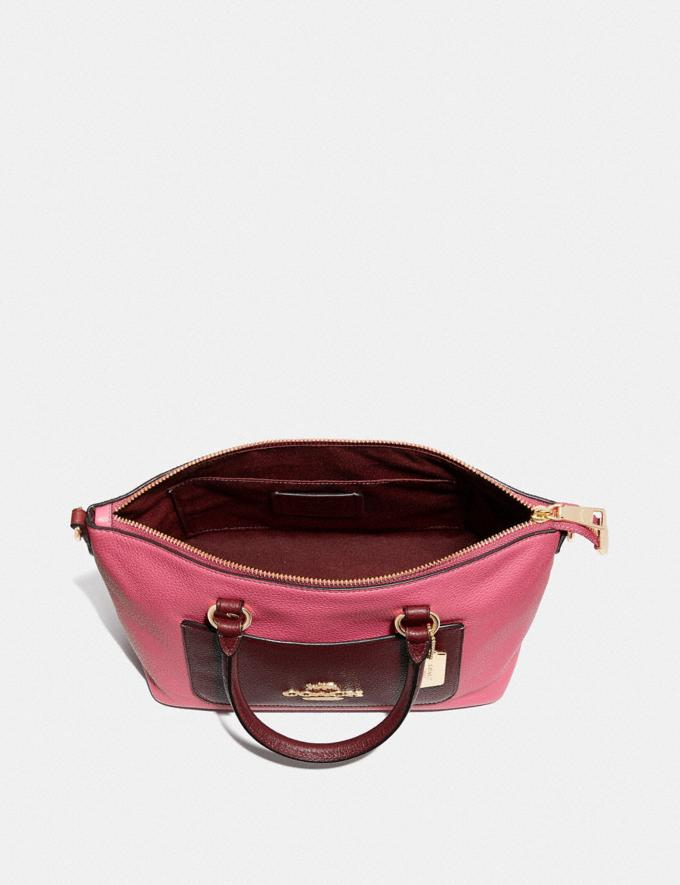 Coach Mini Emma Satchel in Colorblock Pink Ruby/Gold Explore Bags Bags Satchels Alternate View 1