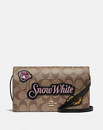 DISNEY X COACH HAYDEN FOLDOVER CROSSBODY CLUTCH IN SIGNATURE CANVAS WITH SNOW WHITE