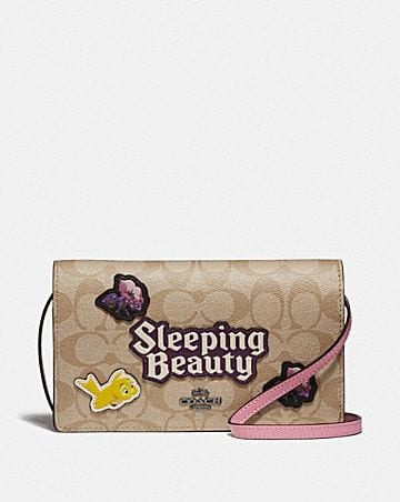 DISNEY X COACH HAYDEN FOLDOVER CROSSBODY CLUTCH IN SIGNATURE CANVAS WITH SLEEPING BEAUTY