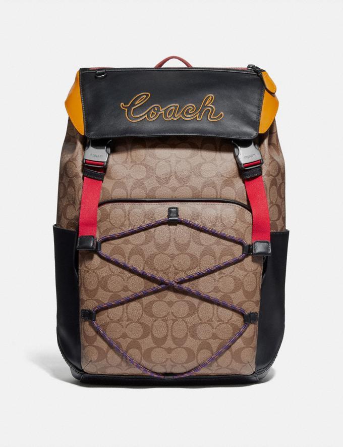 Coach Terrain Backpack in Signature Canvas Tan/Black Antique Nickel Explore Men Explore Men Travel