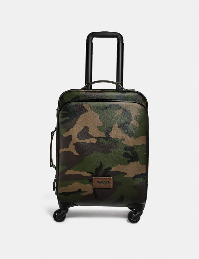 Coach Wheeled Carry on With Camo Print Dark Gree/Multi Men Travel