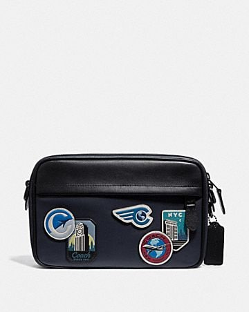 graham crossbody with travel patches