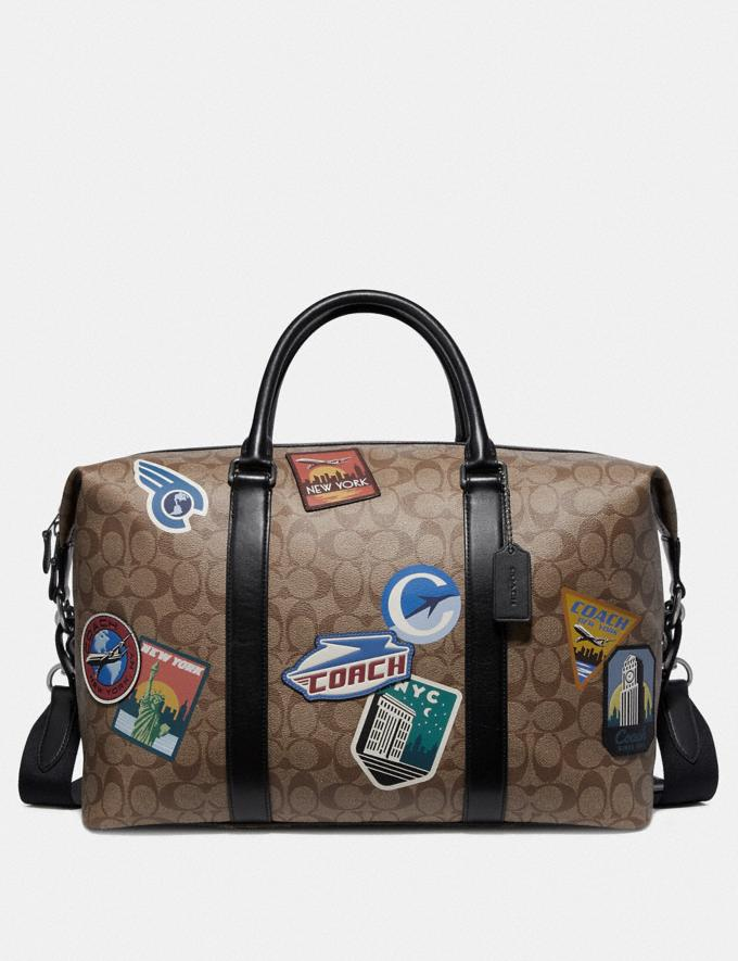 Coach Voyager Bag in Signature Canvas With Travel Patches Tan Explore Men Explore Men New Arrivals