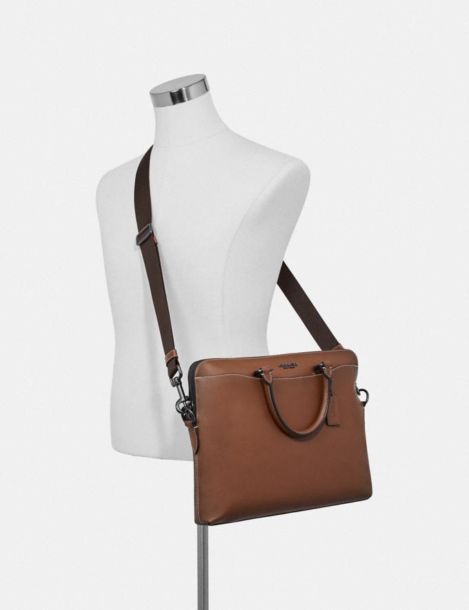 Coach Beckett Portfolio Brief Saddle/Black Antique Nickel Men Bags Alternate View 2