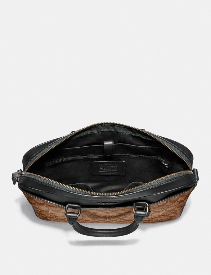 Coach Beckett Compact Brief in Signature Canvas Tan/Black Antique Nickel Explore Men Explore Men Bags Alternate View 1