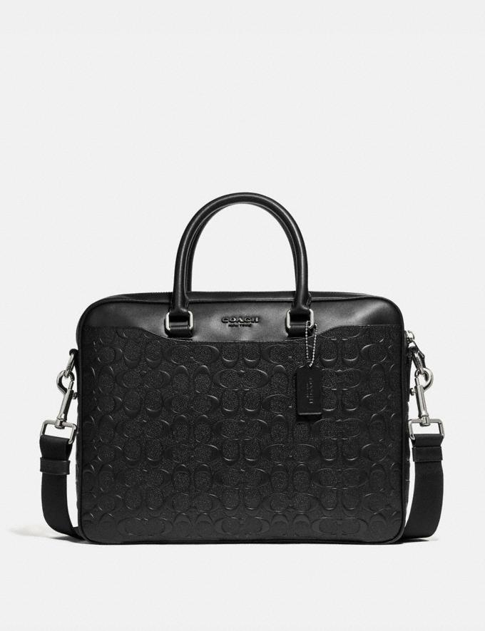 Coach Beckett Compact Brief in Signature Leather Black/Nickel Men Bags