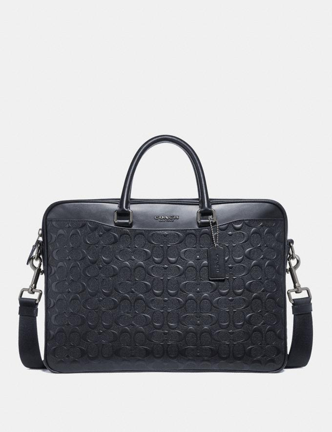 Coach Beckett Slim Brief in Signature Leather Midnight Navy Explore Men Explore Men Bags