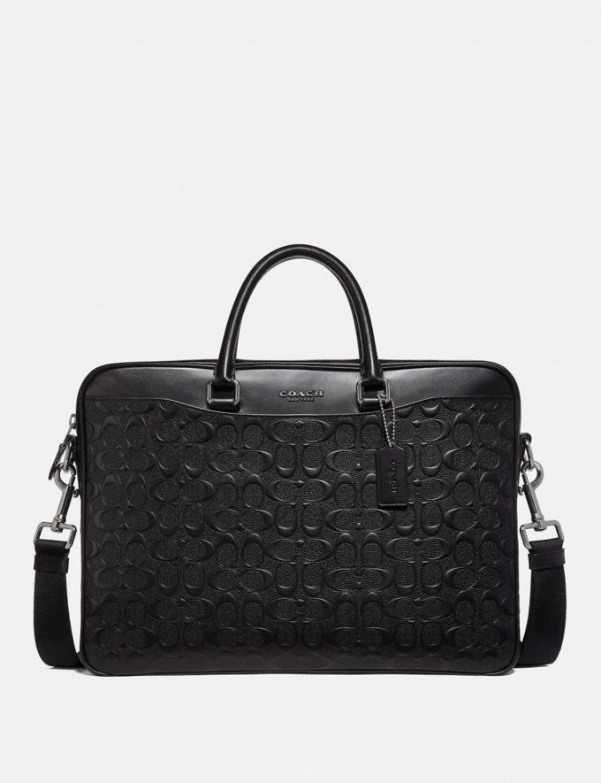 Coach Beckett Slim Brief in Signature Leather Black Men Bags