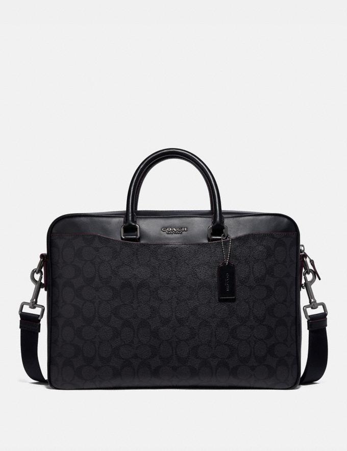 Coach Beckett Slim Brief in Signature Canvas Black/Oxblood Explore Men Explore Men Bags