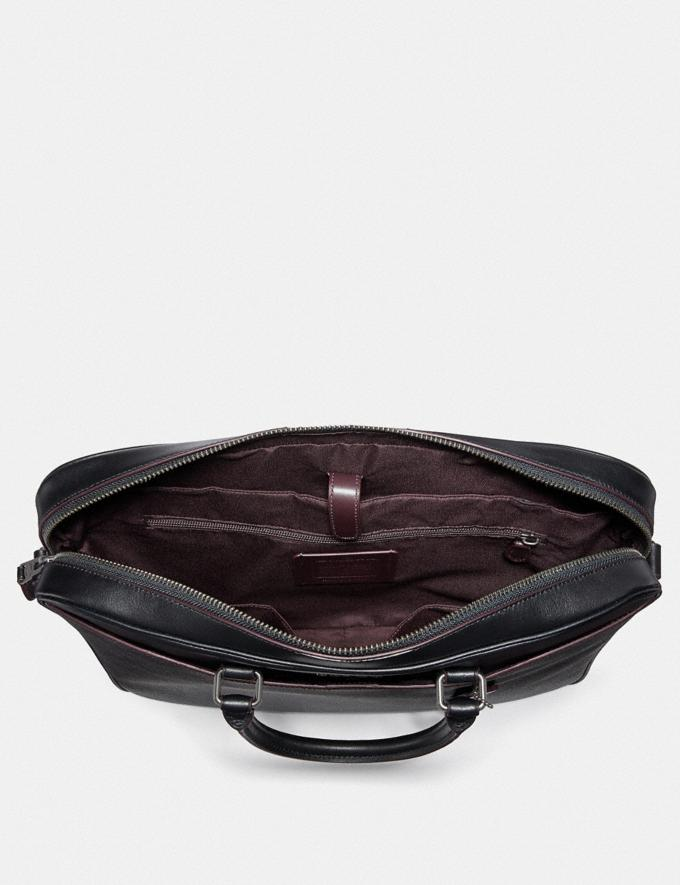 Coach Beckett Slim Brief in Signature Canvas Black/Oxblood Outlet Men's Bags Alternate View 1