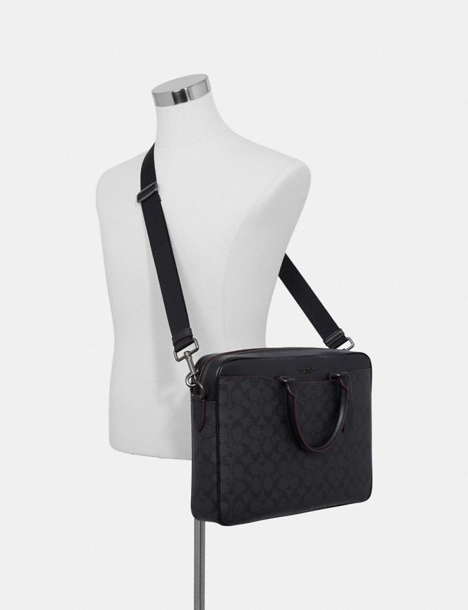 Coach Beckett Slim Brief in Signature Canvas Black/Oxblood Outlet Men's Bags Alternate View 2