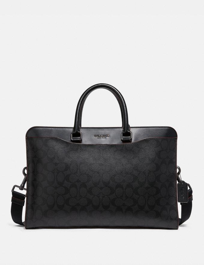 Coach Beckett Structured Brief in Signature Canvas Black/Oxblood Explore Men Explore Men Bags