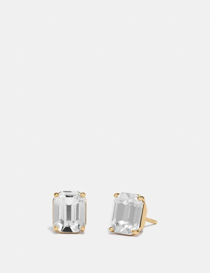 Coach Emerald Cut Stud Earrings Clear/Gold