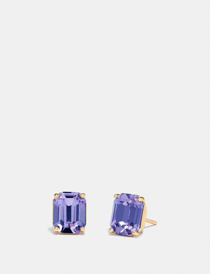 Coach Emerald Cut Stud Earrings Purple/Gold