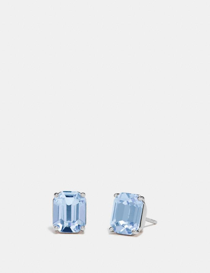 Coach Emerald Cut Stud Earrings Blue/Silver