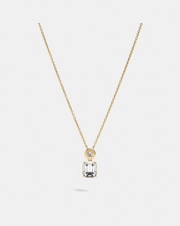 Coach EMERALD CUT CRYSTAL NECKLACE
