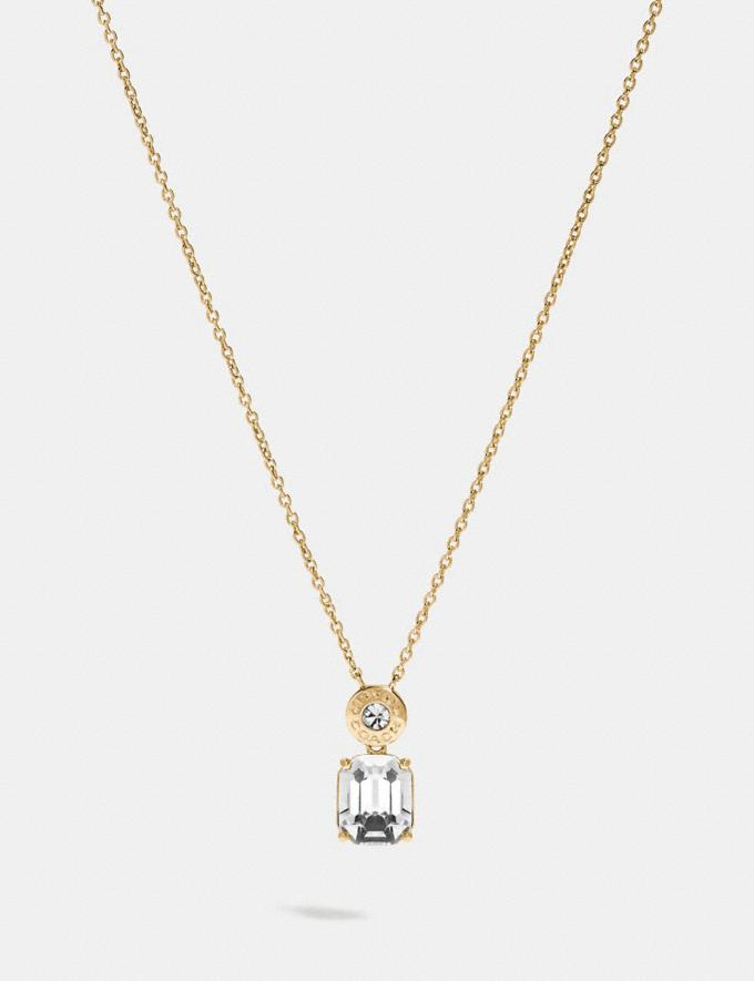 Coach Emerald Cut Crystal Necklace Clear/Gold