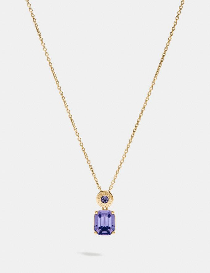 Coach Emerald Cut Crystal Necklace Purple/Gold