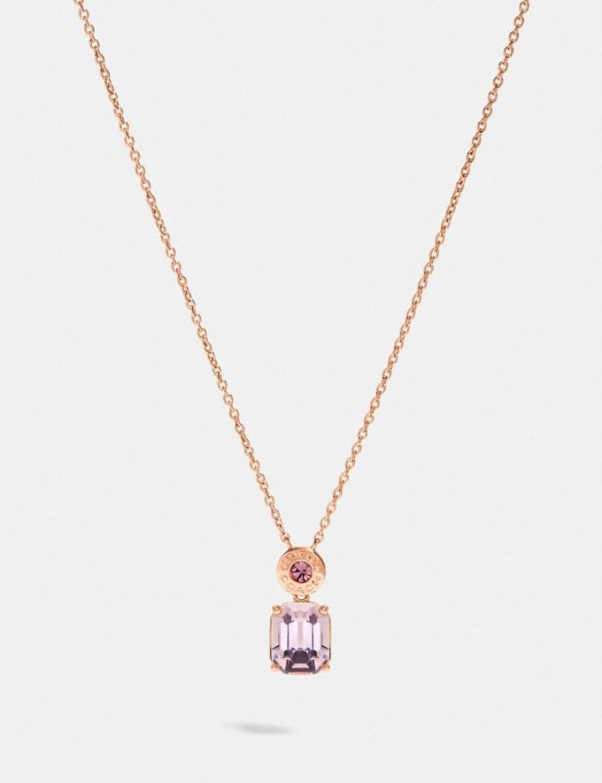 Coach Emerald Cut Crystal Necklace Pink/Rosegold