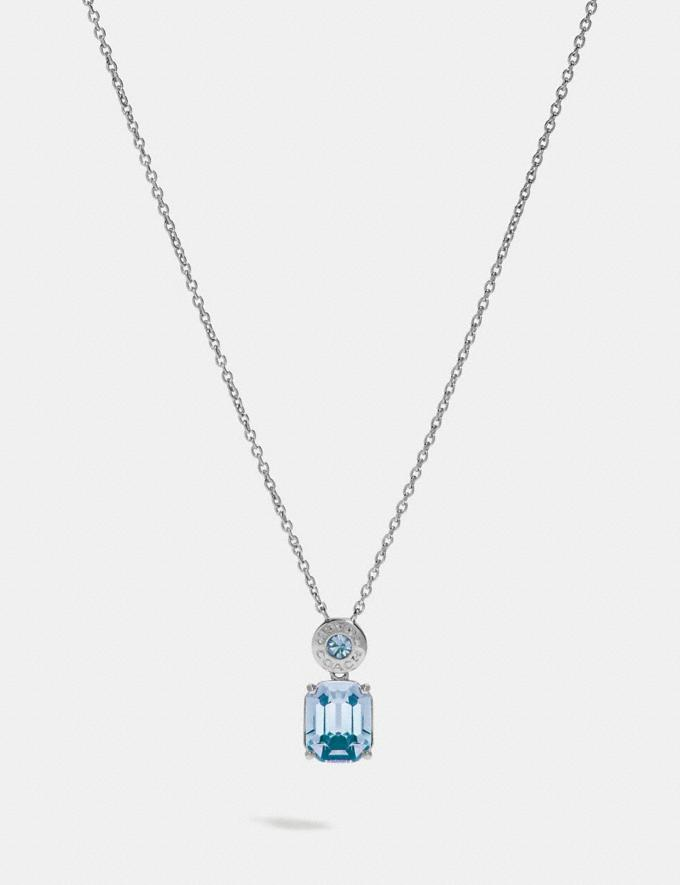 Coach Emerald Cut Crystal Necklace Blue/Silver