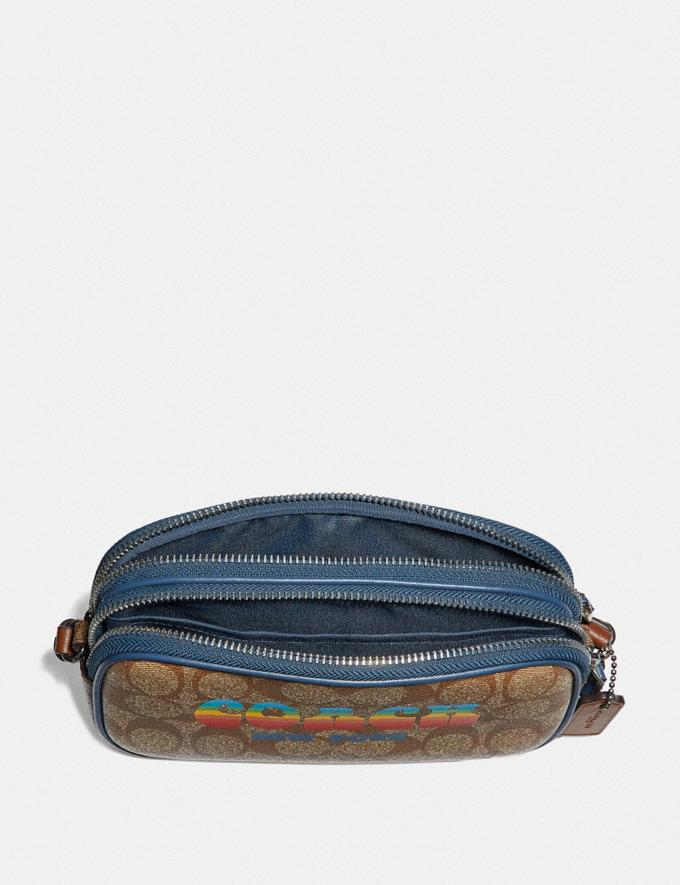 Coach Crossbody Pouch in Signature Canvas With Rainbow Coach Animation Khaki/Multi/Silver Explore Bags Bags New Arrivals Alternate View 1