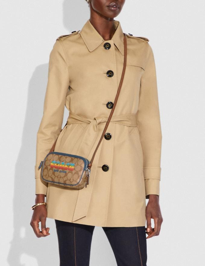Coach Crossbody Pouch in Signature Canvas With Rainbow Coach Animation Khaki/Multi/Silver Explore Bags Bags New Arrivals Alternate View 2