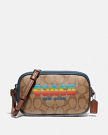 CROSSBODY POUCH IN SIGNATURE CANVAS WITH RAINBOW COACH ANIMATION