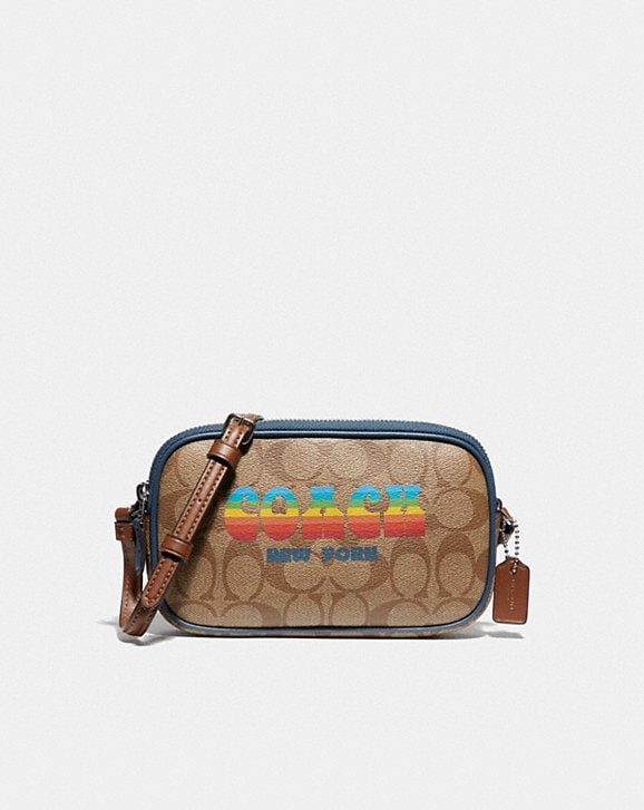 Coach CROSSBODY POUCH IN SIGNATURE CANVAS WITH RAINBOW COACH ANIMATION