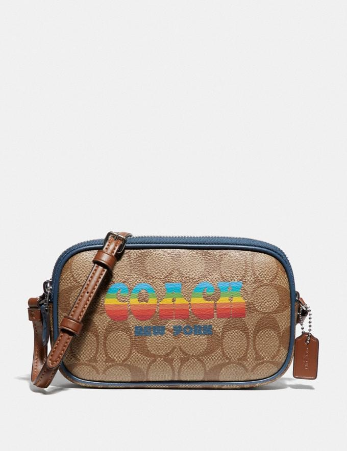 Coach Crossbody Pouch in Signature Canvas With Rainbow Coach Animation Khaki/Multi/Silver Explore Bags Bags New Arrivals