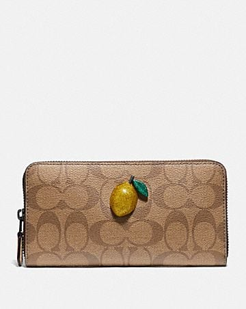 ACCORDION ZIP WALLET IN SIGNATURE CANVAS WITH FRUIT